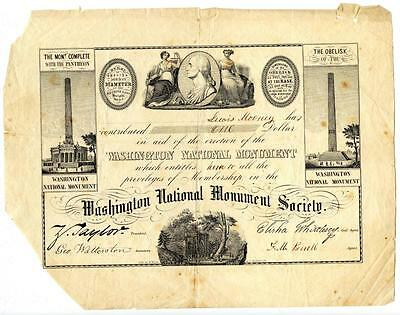 1850s Washington Monument Society Donation Certificate to Pay for Construction
