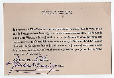 1940s BISHOP JAMES CASSIDY French CATHOLIC CHURCH Fall River Massachusetts CARD
