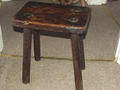 Antique Primitive Wood MILKING STOOL Bench 4-Leg chair Old ELM Furniture Rustic