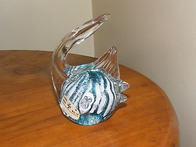 MALTA ART GLASS FISH PAPERWEIGHT with Label  *Signed & Dated by Artist to base*
