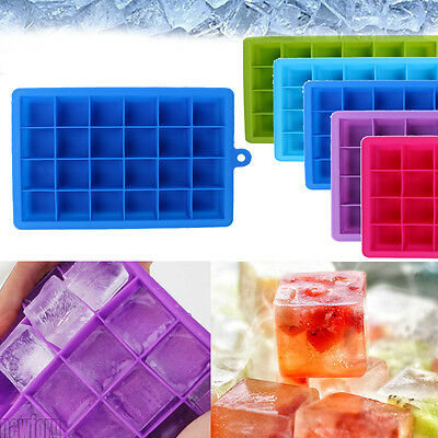 24-Cavity Large Ice Cube Tray Pudding Jelly Maker Mold Square Mould Silicone DIY