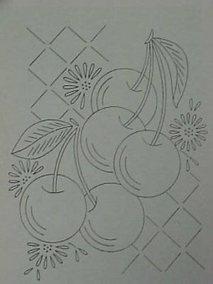 Vintage 40s Embroidery Transfer Pattern Kitchen Fruits Cherries Grapes & More