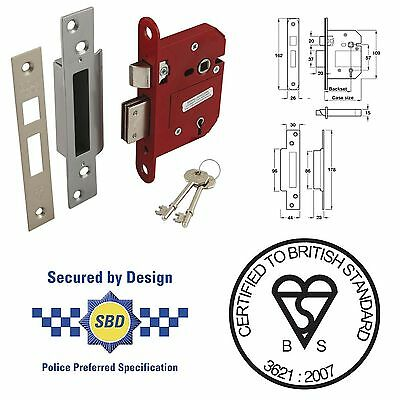 ERA Fortress 5 Lever Mortice Sashlock Chrome Effect Finish Insurace Approved 3""