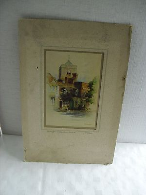 Vintage Print Of The Post Office + Abbey Tower Dorchester By F Robson