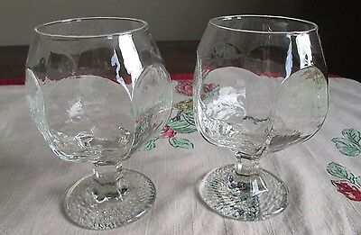 LiBBey Rock Sharpe Lot 2  BRANDY Glasses CHIVALRY Clear  Rippled WATER Hectagon