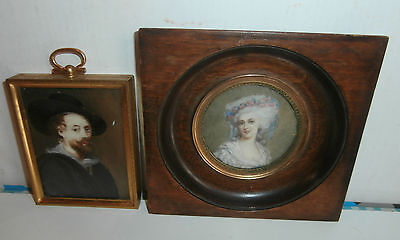 estate / 2 ANTIQUE MINIATURES  portraits  SIGNED  SEE ....