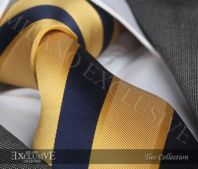 New Italian Designer Gold & Navy Blue Stripe Silk Tie