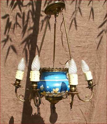 Rare Belgium Majolica Bronze Chandelier Strawberry 1880
