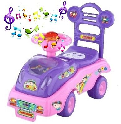 My First Ride On Kids Toddlers Infants PURPLE Toy Car Girls Push Along QX-3320