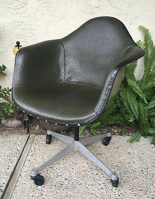 Custom Herman Miller Eames Green Ostrich Leather/Greige Shell Rolling Armchair