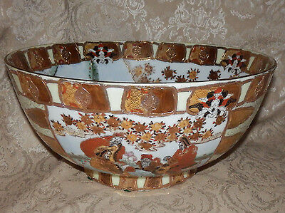 "Large Oriental Chinese Porcelain Hand Painted Bowl ""Marked"" Raised Gold Design"