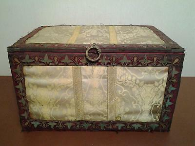 Beautiful antique C19 chest covered brocade with metal thread embroidery