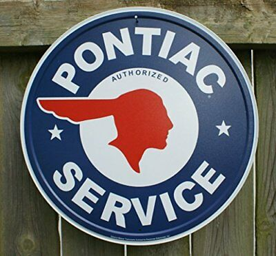 Pontiac Authorized Service Car Dealer Logo Round Retro Vintage Tin Sign - 12x12