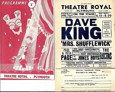 1956 Plymouth Variety Programme & Flyer * Dave King * Mrs Shufflewick *