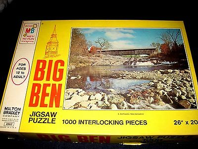 MILTON BRADLEY VINTAGE 1973  BIG BEN JIGSAW PUZZLE: SWIFTWATER, NH: 1000 pcs