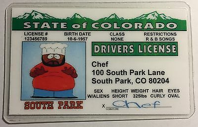 Chef - Colorado, Drivers License Novelty - South Park