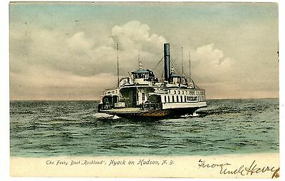 """Nyack NY - FERRY BOAT """"ROCKLAND"""" ON HUDSON RIVER - Handcolored Postcard"""