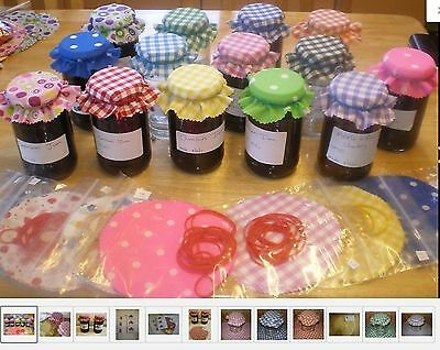 Gingham jam covers fabric 10 colours avalible FREE BANDS & JAR LABELS X 20