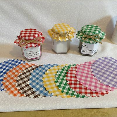 JAM jar covers fabric  SIZE  11cm 10 colours FREE bands x 50