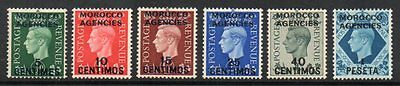 Morocco Agencies: 1937 KGVI GB ovpt vals (6) ex SG 165-71 mint