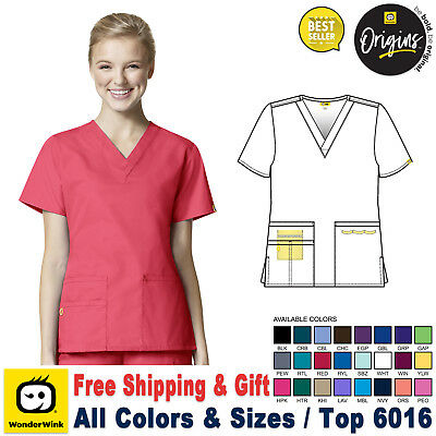 WonderWink Origins Womens Medical Scrubs Multi Color V-Neck Size XXS-5X