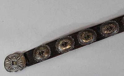 Antique Authentic American Western Navajo Indian Old Pawn Silver Concho Belt