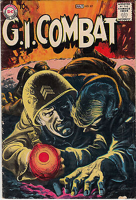 G.I. COMBAT #82 (DC, June/July 1960)  VG/F-  * Gray-tone cover * Hard to Find *