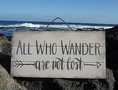 ALL WHO WANDER ARE NOT LOST Tropical Beach Wood Plank Home Decor Ocean Sign NEW