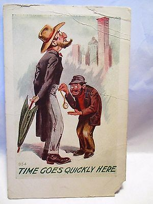 """1910 Emb Postcard """" Time Goes Quickly Here """" Robber Pickpockets Watch, Man Unuse"""
