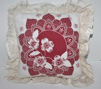 """Vtg Embroidered Throw Pillow Ruffled Pink Maroon Square 15"""" Homemade"""