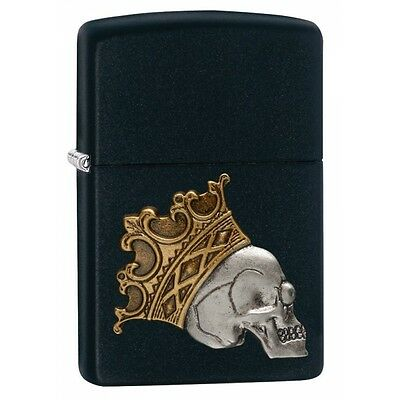 Zippo King Skull Black Matte Regular Lighter  Brand New