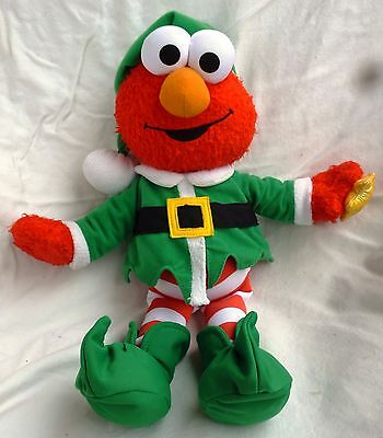 "Fisher Price Singing Elmo Elf 12 Days Of Christmas 13"" Plush Light Up Doll Toy"