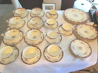 Vintage 42 piece Myott Staffordshire China Made in England Floral Red A. Roberts
