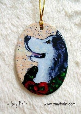 Alaskan Malamute CERAMIC Oval Christmas ORNAMENT by Amy Bolin Traditions