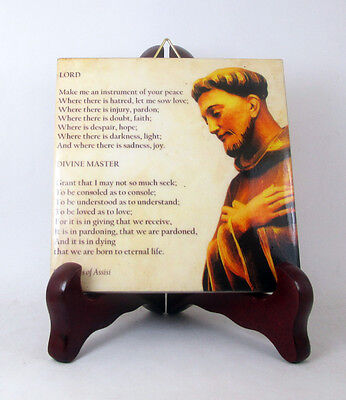 Religious gifts - collectible ceramic tile St Francis of Assisi Peace Prayer