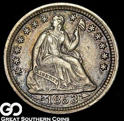 1853 Seated Liberty Half Dime, With Arrows ** Free Shipping!