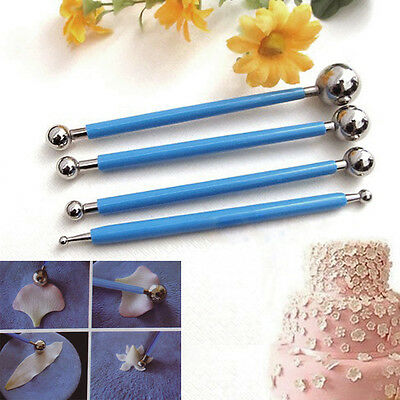 4 x Fondant Cake Flower Metal Ball Modeling Pastry Decor Sugarcraft Cutter Tool