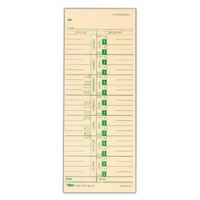 "TOPS Time Cards, Weekly, 1-Sided, Replaces M-33, 10-800292, 3-1/2"" x 9"", New"