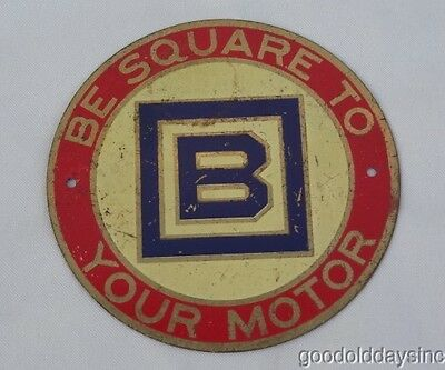 """B Square To Your Motor - 3"""" Advertising Sign for Barnsdall Oil - Gas Station"""