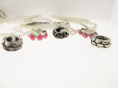 Persona Lot Of 5 Sterling Silver & Pink Circle Beaded With Tags Charm Beads