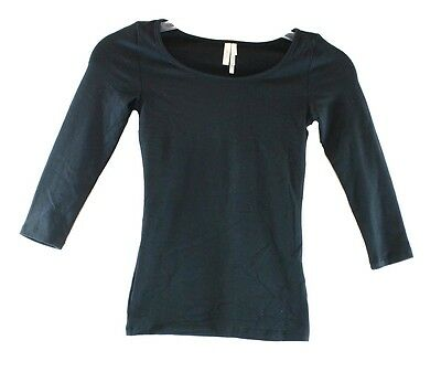 Frenchi NEW Deep Black Size Small S Long-Sleeve Scoop-Neck Tee T-Shirt DEAL #132