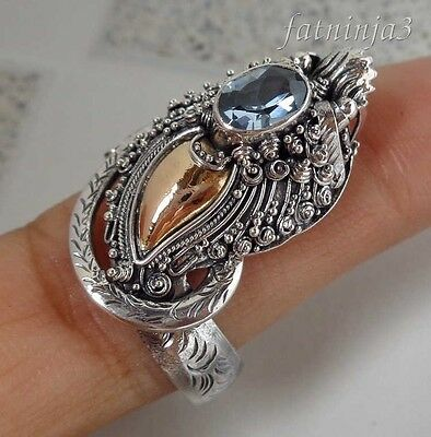 Size 8 (US) Blue Topaz Balinese Solid Silver, 925 & Gold Dragon Ring 34639