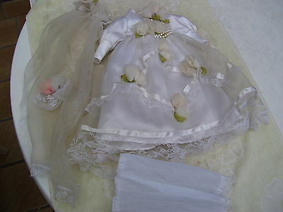 Alte Puppenkleidung Fancy Wedding Dress Outfit vintage Doll clothes 40 cm Girl