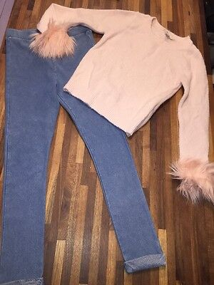 RIVER ISLAND Gorgeous Girls Outfit Fluffy Pink Jumper And Jeggings 5-6 EXC COND