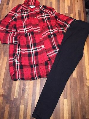 RIVER ISLAND Girls Outfit Check Shirt And Black Leggings Age 6 GREAT CONDITION
