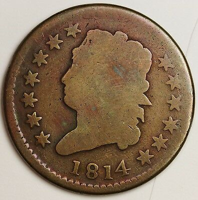 1814 Large Cent.  Full Date.  No Corrosion.  Nice Surfaces. Good Obverse  102281