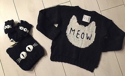 NEXT Black Cat Meow Jumper Hat And Mittens Gloves Set Age 5-6 BNWT