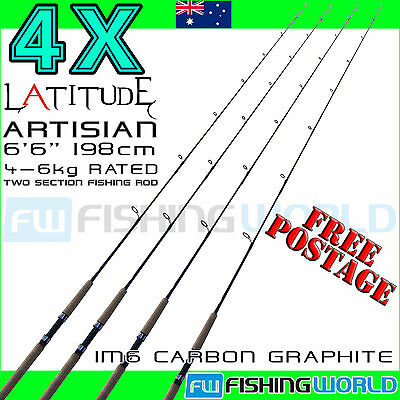 4 x LATITUDE ARTISIAN 180cm 6ft 4-6kg  IM6 CARBON 2 SECTION SPINNING FISHING ROD