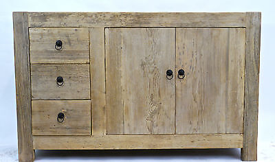 Three Drawer One Cupboard Cabinet Dresser Reclaimed Antique Wood Farmhouse Table