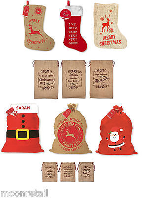 Large Hessian Jute Felt Red Santa Sacks Stockings Xmas Gift Present Bag